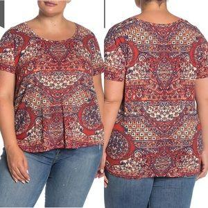 Lucky Brand Printed Tee Womens Size 2X Bohemian